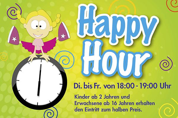 Happy Hour Dienstag bis Freitag von 18 - 19 Uhr. Kinder ab 2 Jahren und Erwachsene ab 16 Jahren erhalten den Eintritt zum halben Preis.